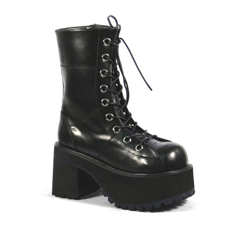 Platform Ankle Boots Black Lace Up Boots 3 1 2 Inch Chunky Heel Gothic Punk