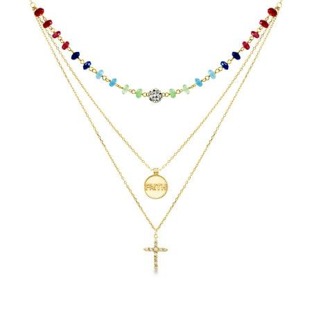 Drop Beaded Necklace Multi Color - Lesa Michele Ladies Multi-Color Cubic Zirconia Cross &