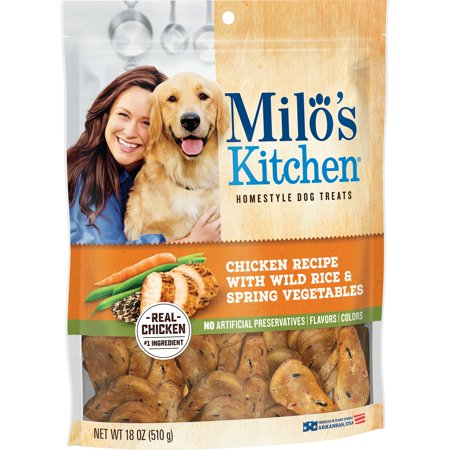 Milos Kitchen Chicken Recipe with Wild Rice & Spring Vegetables Homestyle Dog Treats, 18 oz