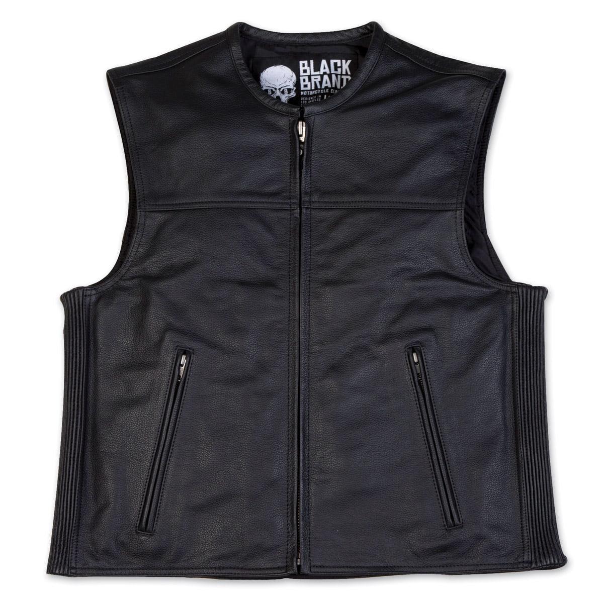 Black Brand Dagger Mens Leather Vest Black MD