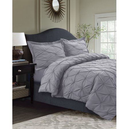 Sydney Pintuck Oversized Duvet Cover Set King Silver Grey