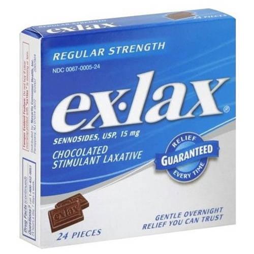 Ex-Lax Ex Lax Regular Strength Chocolate Laxative, 24 CT (Pack of 12)