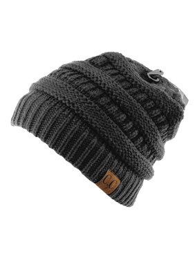 Unisex Trendy Warm Chunky Soft Stretch Cable Knit Slouchy Beanie Skully-HAT20A-Gray