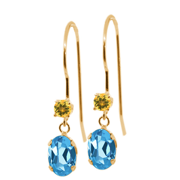 1.24 Ct Oval Swiss Blue Topaz Yellow Simulated Citrine 14K Yellow Gold Earrings