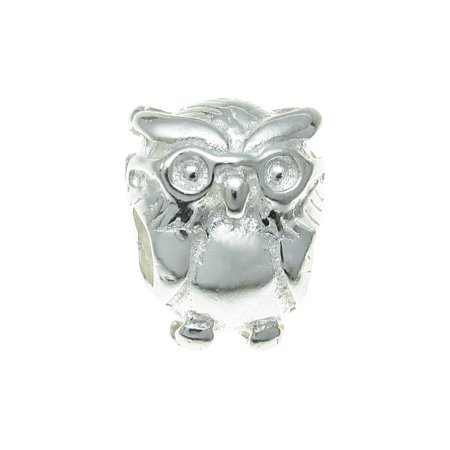 Queenberry Sterling Silver Owl Scholar European Style Bead Charm Fits - Sterling Silver Antiqued Owl Charm