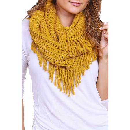 Scarab Collection (TD Collections Women's Winter Warm Knit Infinity Fringed Scarf, Multiple Colors )