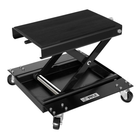 PYLE PLMOTJC11 - Motorcyle Lift Jack & Dolly - Motorcycle Scissor Lift Hoist Stand with Rolling Caster Wheels Motorcycle Lifts Jacks