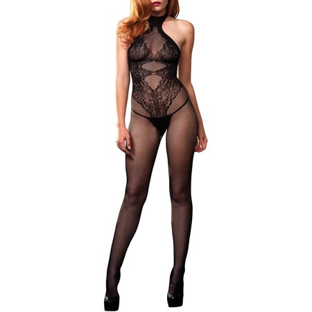 Lace Ruffle Bodystocking - Women's Sexy Crotchless Fishnet and Lace Hourglass Halter Bodystocking