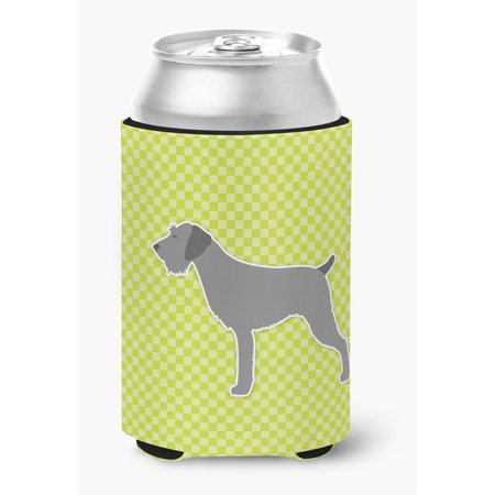 Blue German Wirehaired Pointer (German Wirehaired Pointer Checkerboard Green Can or Bottle Hugger)