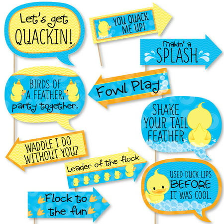 Funny Ducky Duck - Baby Shower or Birthday Party Photo Booth Props Kit - 10 - Blue And Yellow Baby Shower