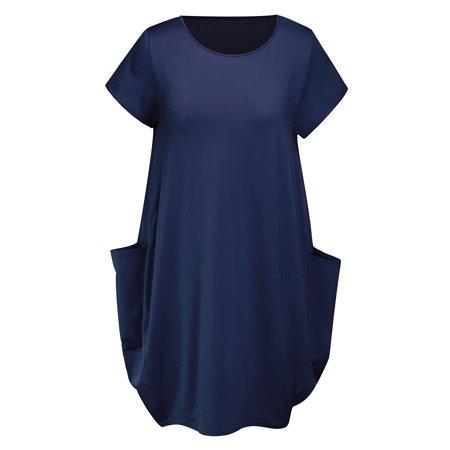 Womens Short Sleeve Midi Dress Ladies Plain Big Pocket Loose Stretch Tops Plus Size