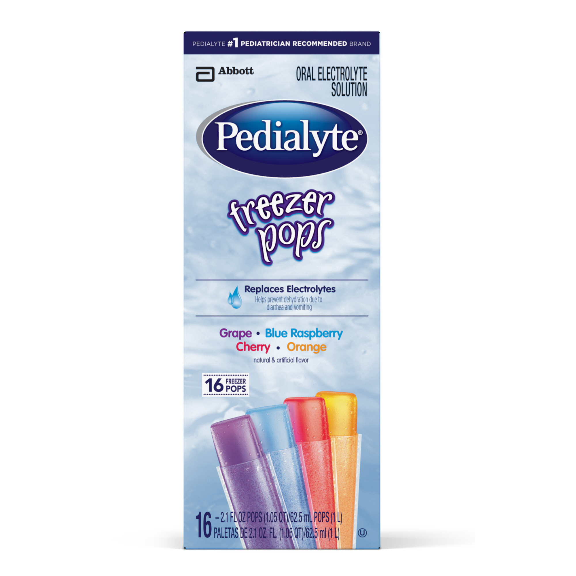 Pedialyte Electrolyte Solution Freezer Pops, 2.1 oz (4, 16-count, Packs) (Does not ship frozen)
