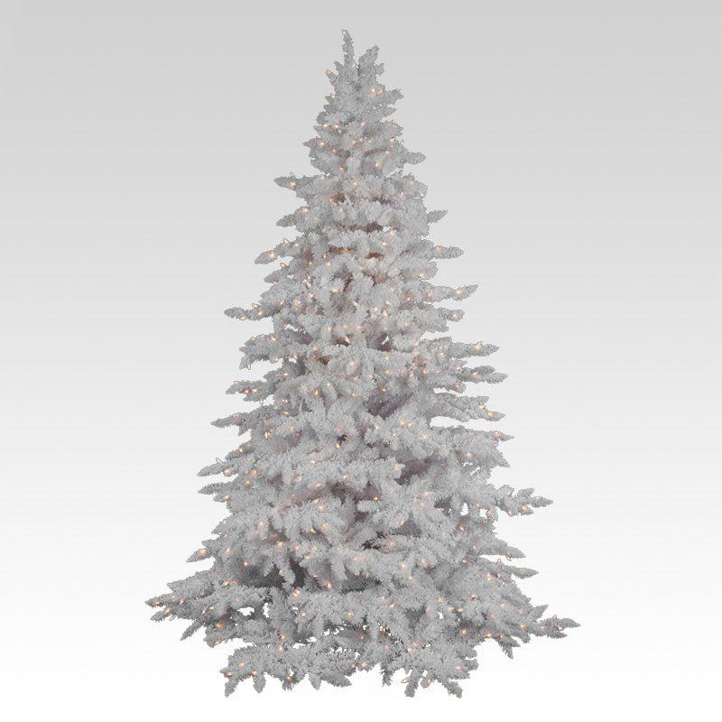 Flocked White Spruce Full Pre-lit Christmas Tree - Walmart.com