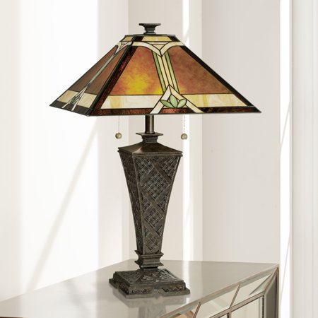 - Robert Louis Tiffany Mission Table Lamp Bronze Wicker Pattern Stained Art Glass Shade for Living Room Family Bedroom Bedside
