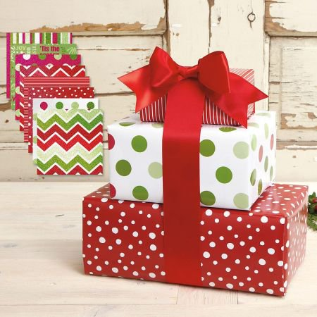 Christmas Patterns Flat Gift Wrap Value Pack - 8 sheets