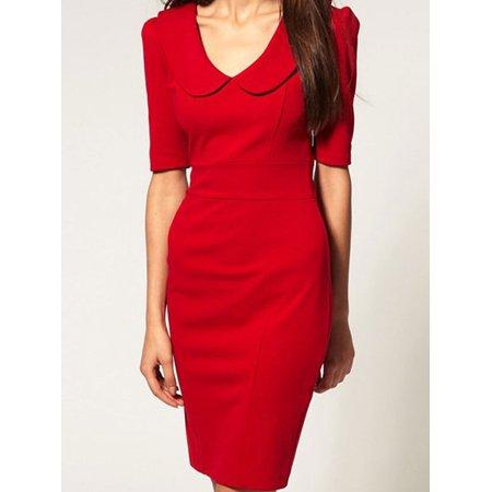 Unomatch - Women s Elegant Peter Pan Collar Short Sleeve Dress Red -  Walmart.com 096c2ba83