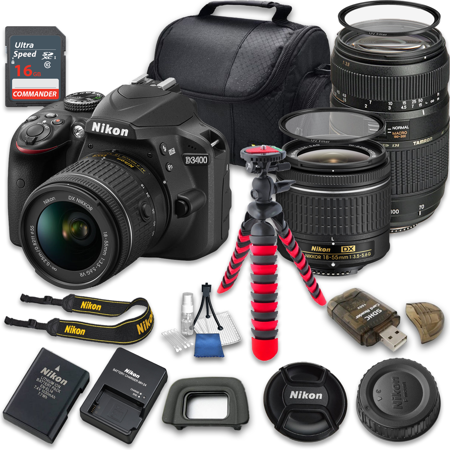 Nikon D3400 24.2 MP DSLR Camera w/ 18-55mm VR Lens (Vibration Reduction) + Tamron 70-300mm f/4-5.6 Macro Autofocus Lens + 16GB High Speed SDHC Memory Card - International - Camera Vibration Mount