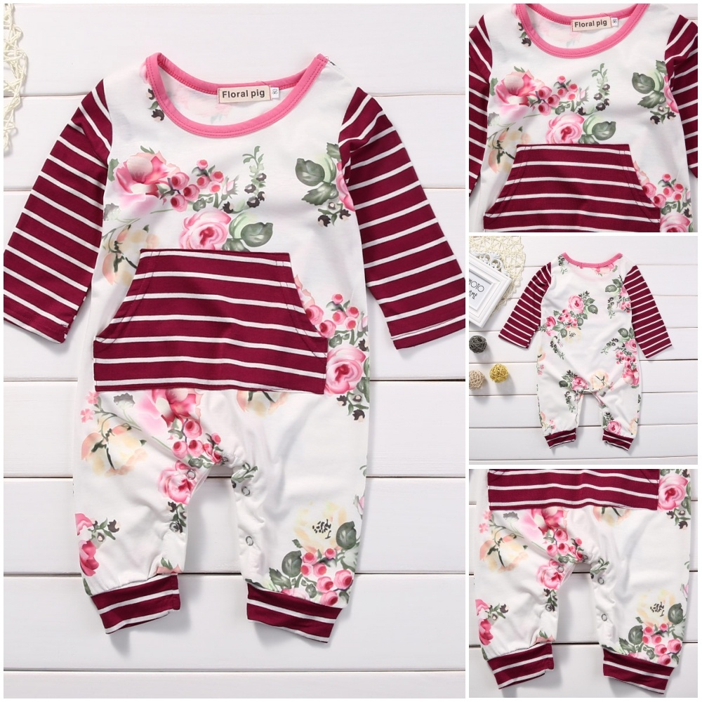 Newborn Kids Baby Girls Floral Romper Bodysuit One-piece Jumpsuit Outfit Clothes