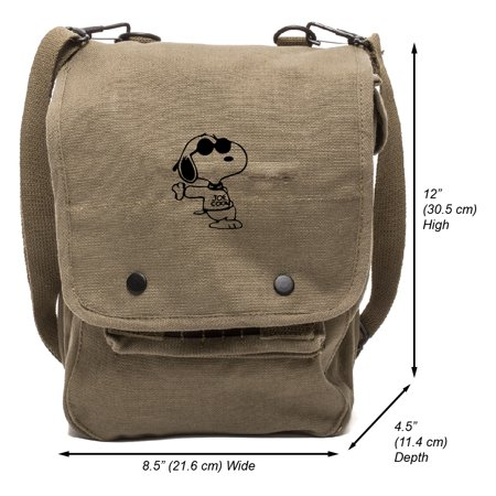 Snoopy Joe Cool Canvas Crossbody Travel Map Bag Case