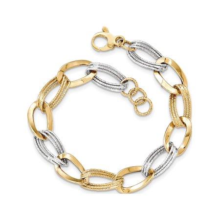 14k Two-Tone Gold Two Tone Polished Fancy Link Bracelet