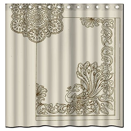 MOHome Peacock Shower Curtain Waterproof Polyester Fabric Size 60x72 Inches