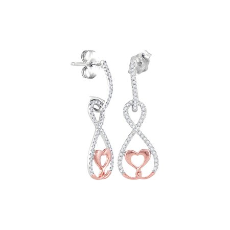 10K White Ravishing Rose Gold Diamond Dangle Lovely Infinity Heart Earrings 1/4 Ctw. - Lovely Diamond Heart