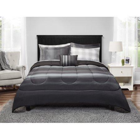 Mainstays Grey Ombre Bed In A Bag Bedding Set Walmart Com