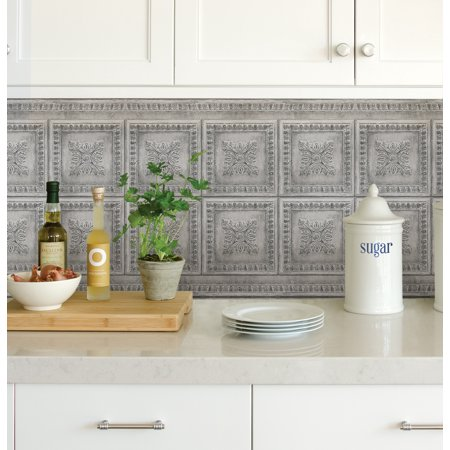 InHome Ornamental Tin Grey Peel & Stick Backsplash Tiles