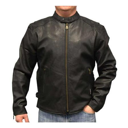 Redline Men's Distressed Leather Touring Motorcycle Jacket w/ Liner, Black M-600