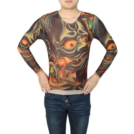 Unique Bargains Men Red Dragon Print Stretchy Close Fitting Tattoo T Shirt Top Assorted Color S