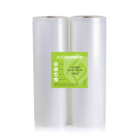 "Two 11""x50' Heavy-Duty Vacuum Sealer Rolls Easy Cut for Custom Bag Sizes 100 Total Feet for Food Saver and Major Brand Vac Sealers 