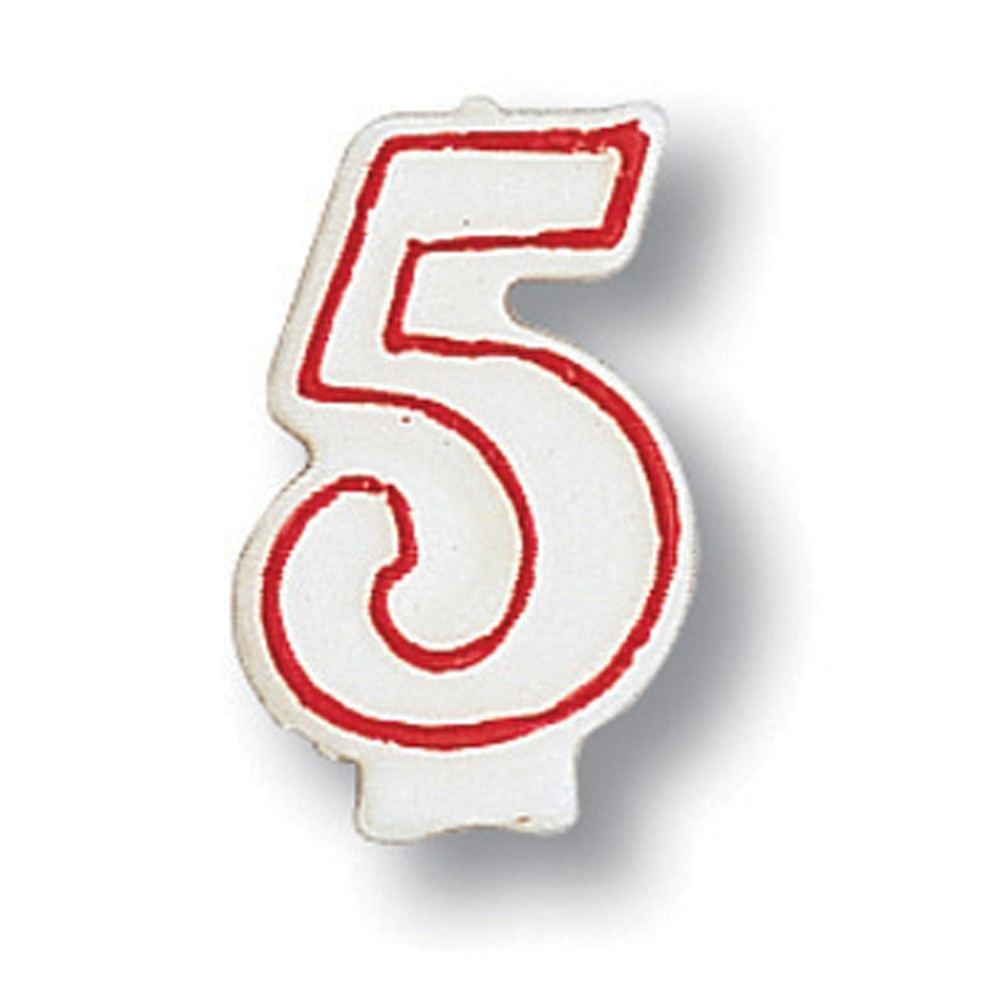 """3"""" Red Outline Numeral Candle Number 5, Case of 6"""