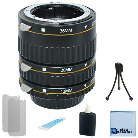 Auto Focus Macro Extension Tube Set for Most Camera Models, Complete Starter Kit + eCostConnection Microfiber