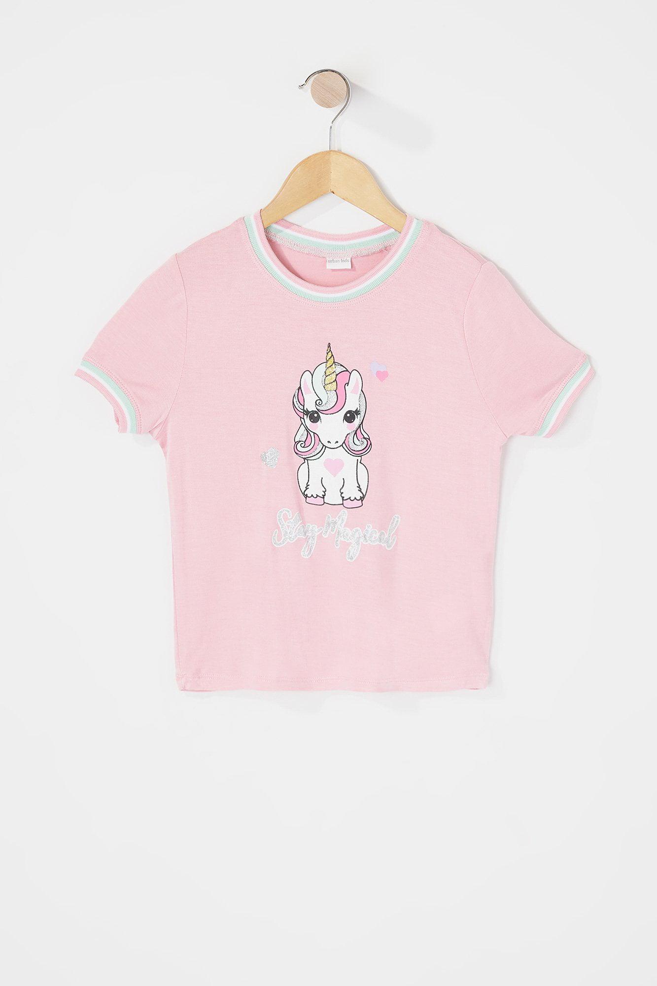 8125b25f094 Urban Kids Toddler Girl s Toddler Girl Glitter Graphic Ringer T-Shirt
