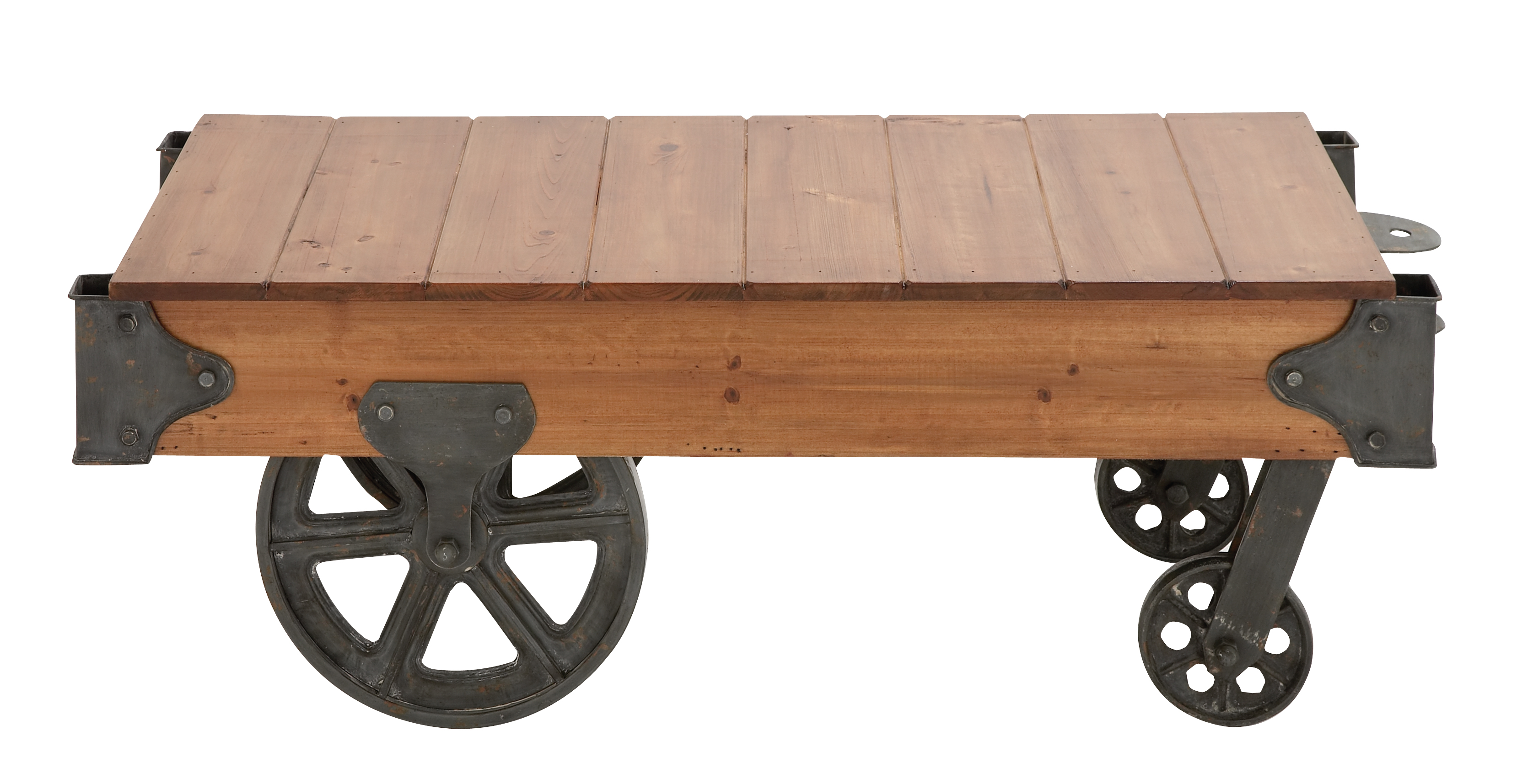 Ordinaire DecMode 45u201d X 16u201d Industrial Metal U0026 Rustic Wood Cart Coffee Table With  Wheels