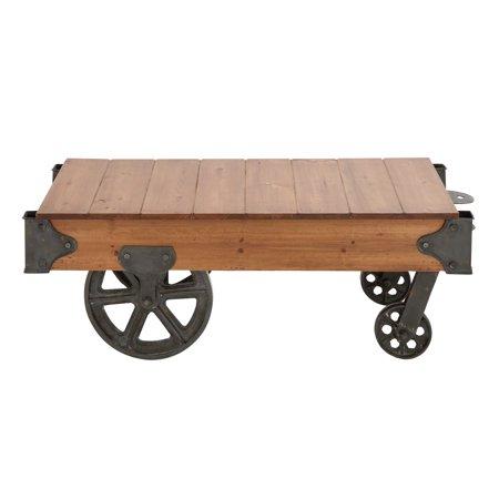 "DecMode 45"" x 16"" Industrial Metal & Rustic Wood Cart Coffee Table with Wheels ()"