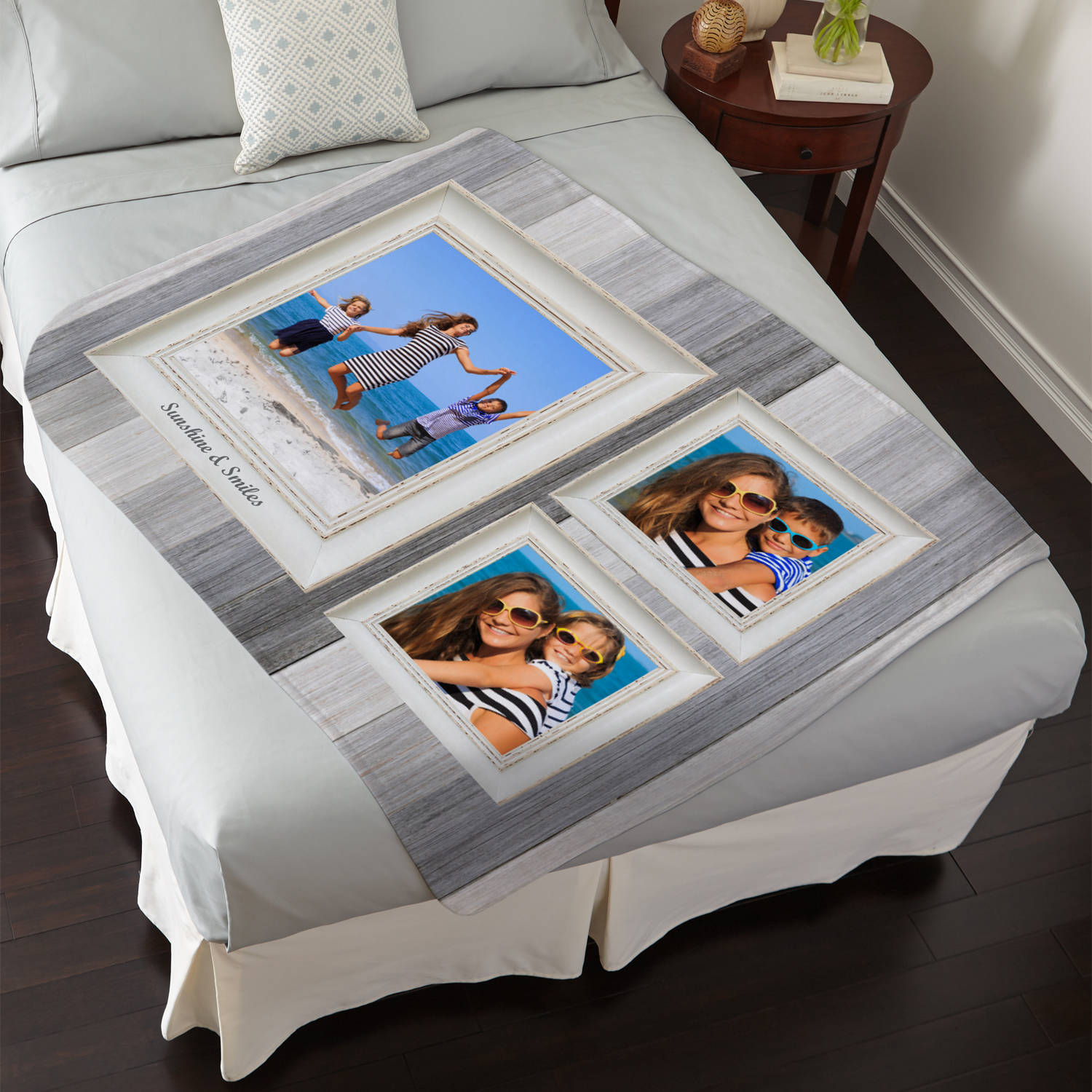 Personalized Weathered Stripe Photo Plush Blanket