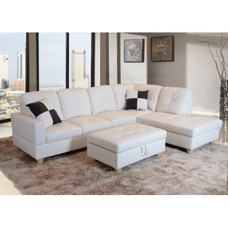 Molina Right Facing Sectional Sofa with Ottoman, Off White ()
