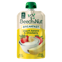 (12 Pouches) Beech-Nut Breakfast On-The-Go Baby Food Pouch, Stage 4, Yogurt, Banana & Strawberry Blend, 3.5 oz