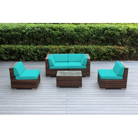 Ohana 5 Piece Outdoor Wicker Patio Furniture Sectional Conversation Set - Mixed Brown Wicker ()