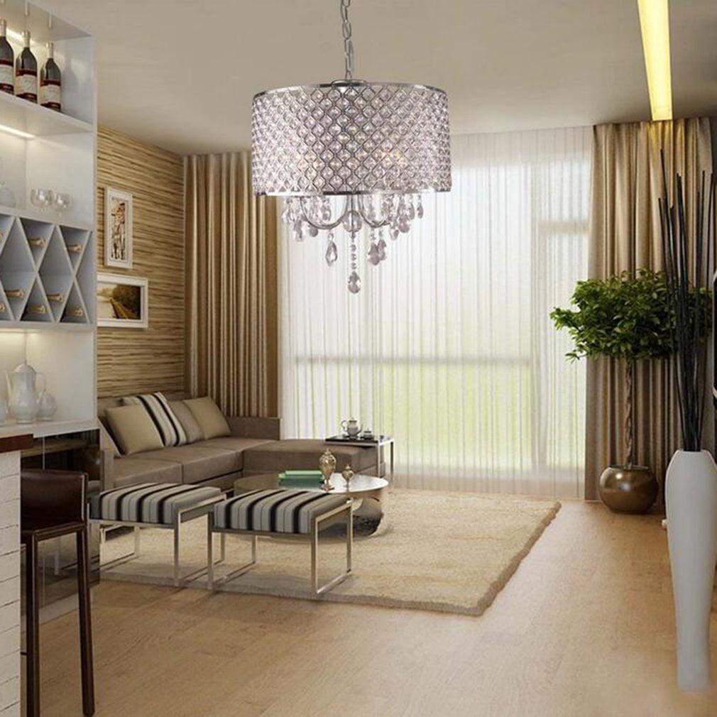 4 Lights Drum Chandelier Modern Crystal Ceiling Light Fixture Pendant Lamp by