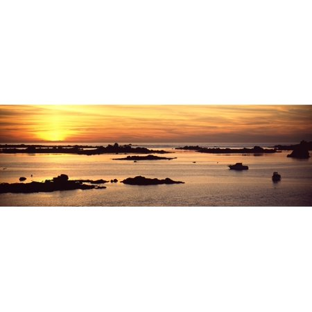 Sunset Over Lillia Near Ile Vierge Finistere Brittany France Canvas Art   Panoramic Images  27 X 9