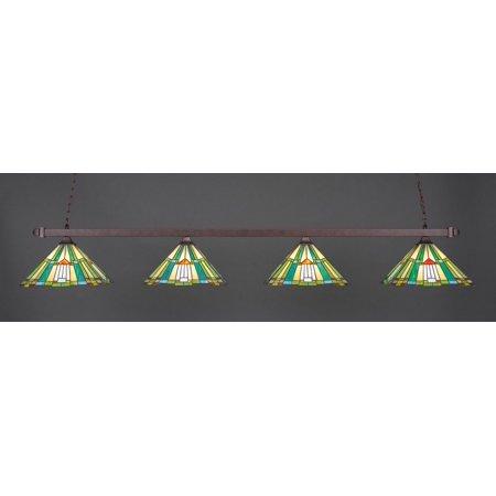 Square Bronze Four-Light Billiard Light w/ 14-Inch Tango Tiffany Glass