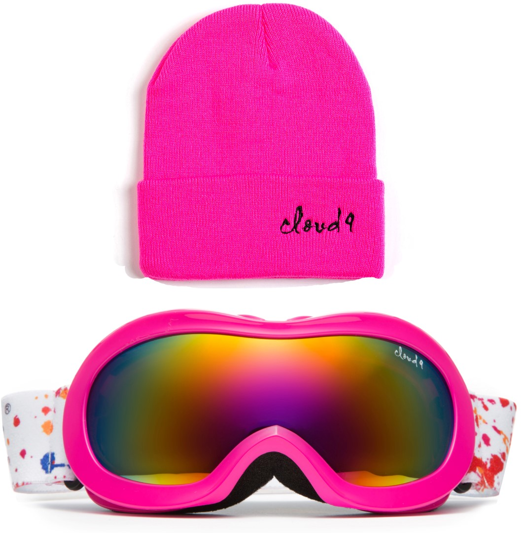 Cloud 9 -Professional Kids Ski Goggles Double Dual Lens Three Layers Foam UV400 Protection Anti-Fog Snowboarding Boys and Girls Snow Goggles with Matching Color Beanie