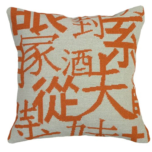 123 Creations Graphic Chinese Characters Needlepoint Wool Throw Pillow
