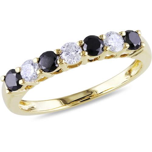 3/4 Carat T.W. Black and White Diamond 10kt Yellow Gold Semi-Eternity Anniversary Ring