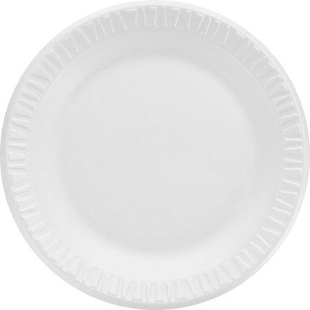 (Dart, DCC7PWCR, Round Foam Dinnerware Plate, 1000 / Carton, White)