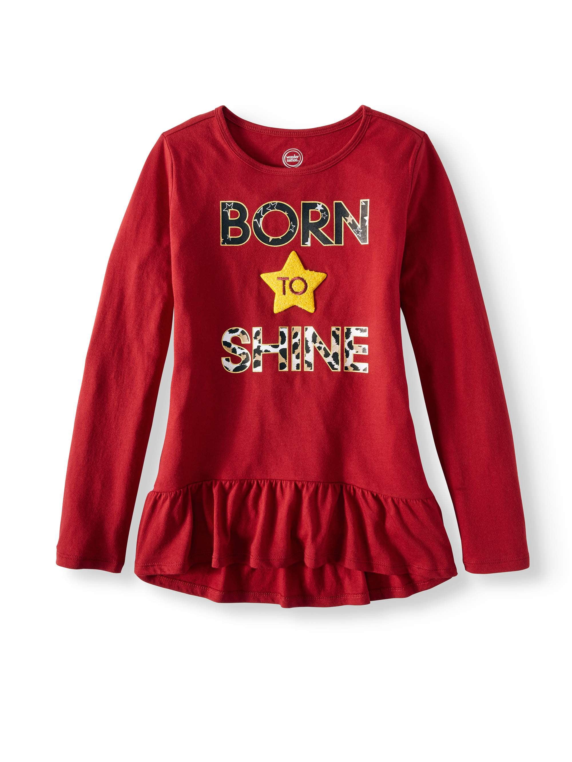 Wonder Nation Girls' Embellished Graphic Long Sleeve Ruffle Hem T-Shirt