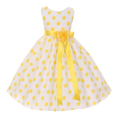 - Girls Yellow Polka Dot Sleeveless Special Occasion Flower Girl Dress 8-12