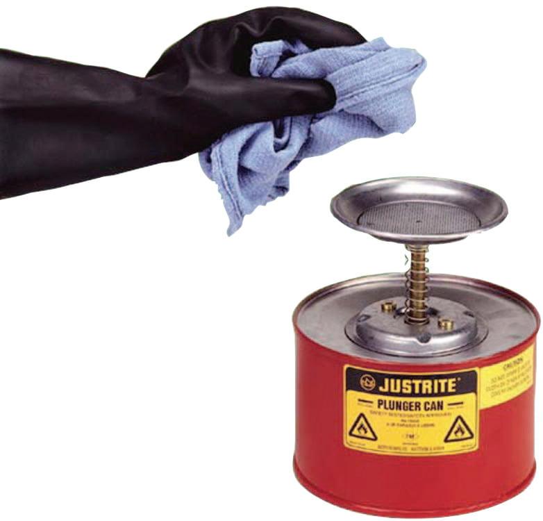 Justrite Plunger Cans, Hazardous Liquid Storage Can, 2 qt, Red